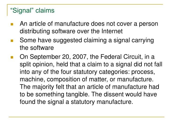 """Signal"" claims"