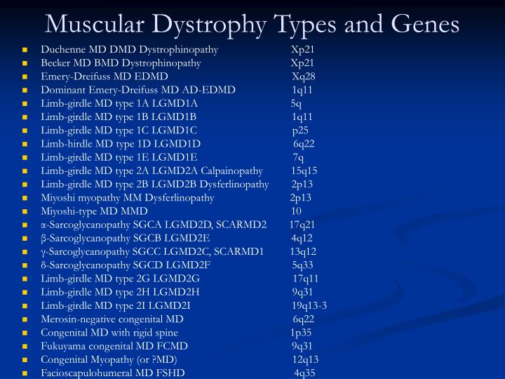 Muscular Dystrophy Types and Genes