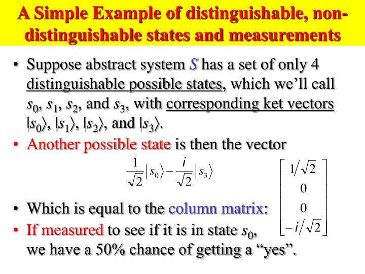 A Simple Example of distinguishable, non-distinguishable states and measurements