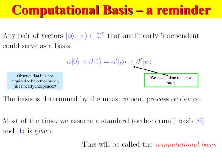 Computational Basis – a reminder