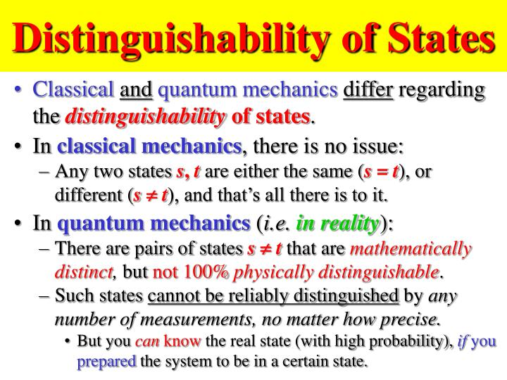 Distinguishability of States
