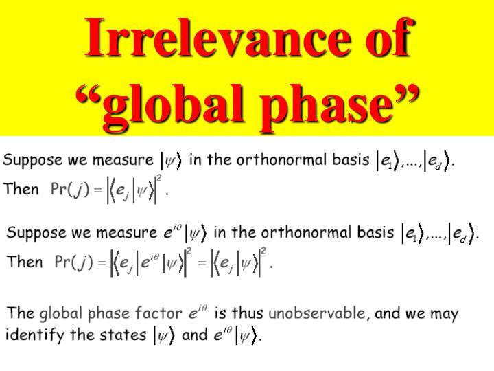 "Irrelevance of ""global phase"""