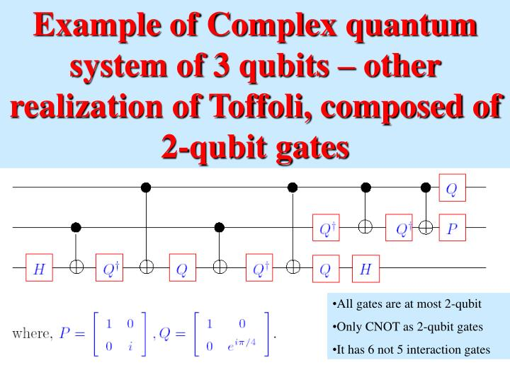 Example of Complex quantum system of 3 qubits – other realization of Toffoli, composed of 2-qubit ...