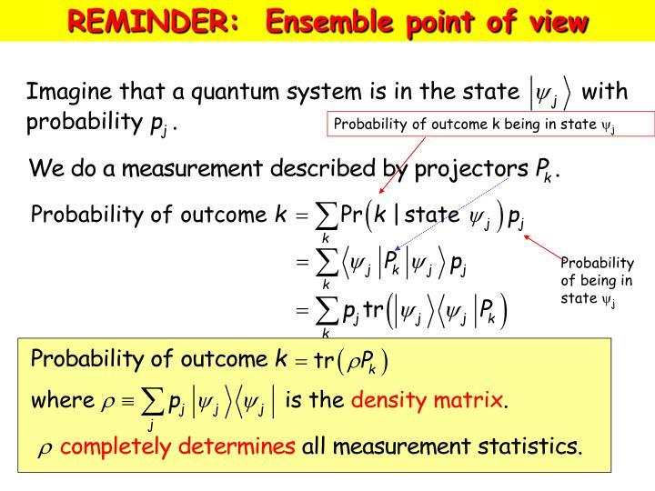 REMINDER:  Ensemble point of view