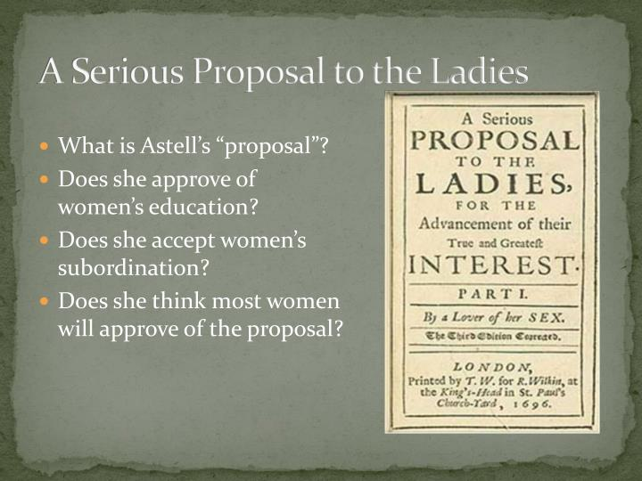 A Serious Proposal to the Ladies