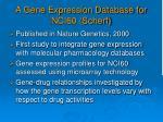 a gene expression database for nci60 scherf