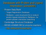 databases with protein and ligand information j nsd ttir