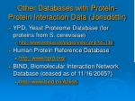 other databases with protein protein interaction data j nsd ttir