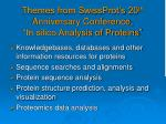 themes from swissprot s 20 th anniversary conference in silico analysis of proteins