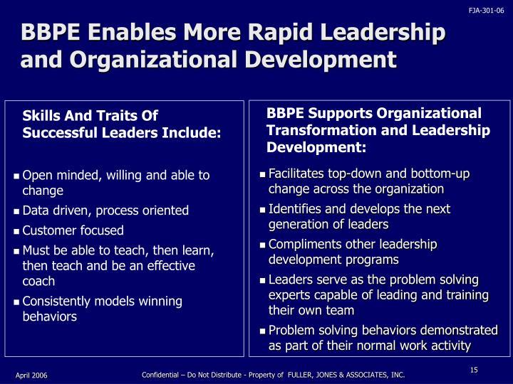 BBPE Enables More Rapid Leadership and Organizational Development