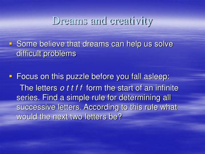 Dreams and creativity