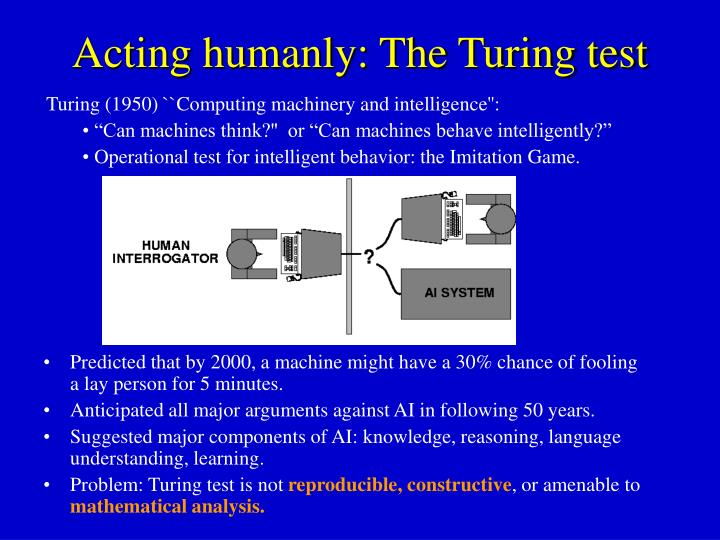 Acting humanly: The Turing test