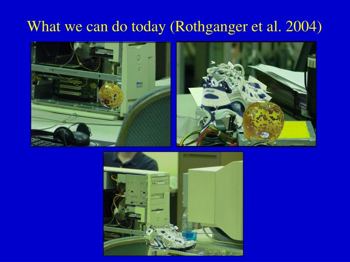 What we can do today (Rothganger et al. 2004)