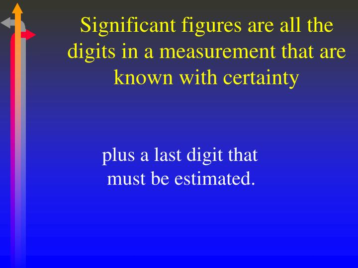 Significant figures are all the digits in a measurement that are known with certainty