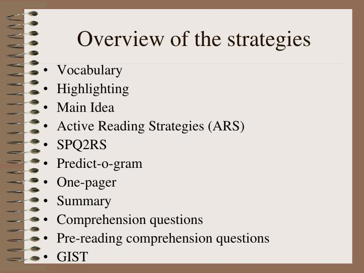 Overview of the strategies