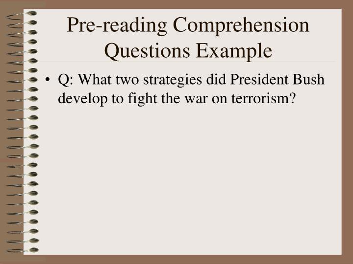 Pre-reading Comprehension Questions Example