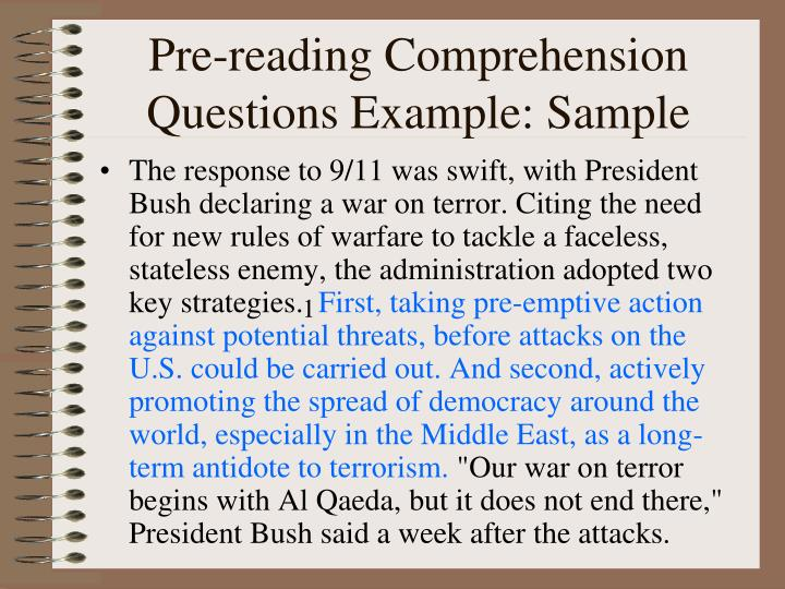 Pre-reading Comprehension Questions Example: Sample