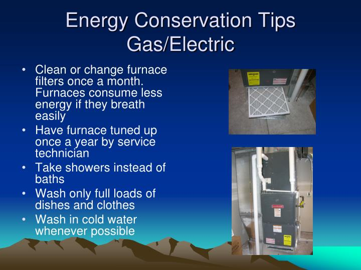 Energy conservation tips gas electric