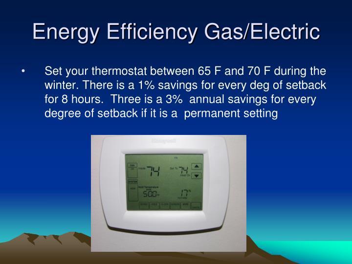 Energy efficiency gas electric