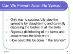 can we prevent avian flu spread