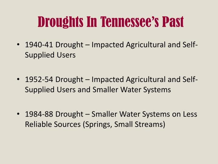 Droughts In Tennessee's Past