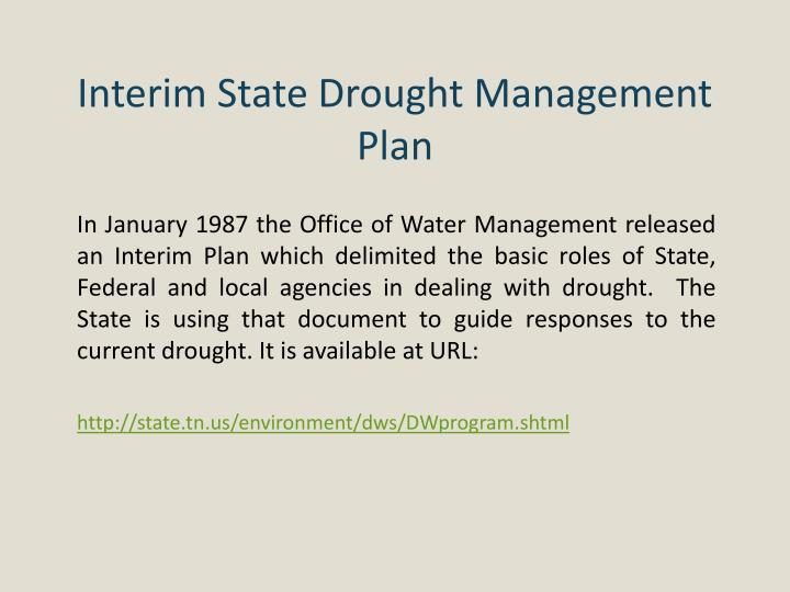 Interim State Drought Management Plan