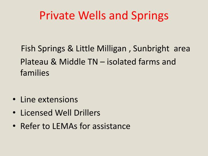 Private Wells and Springs