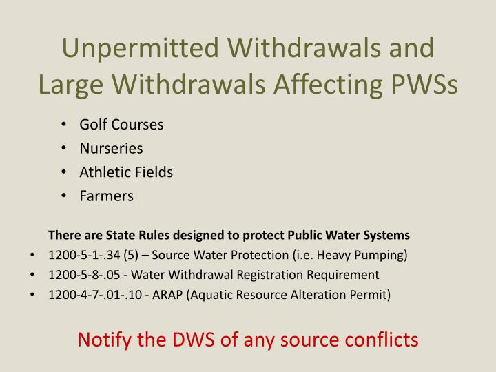 Unpermitted Withdrawals and Large Withdrawals Affecting PWSs