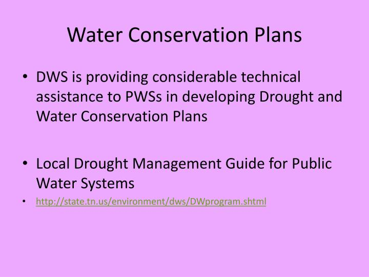 Water Conservation Plans