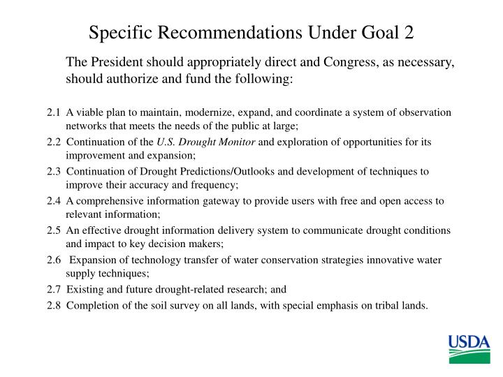 Specific Recommendations Under Goal 2