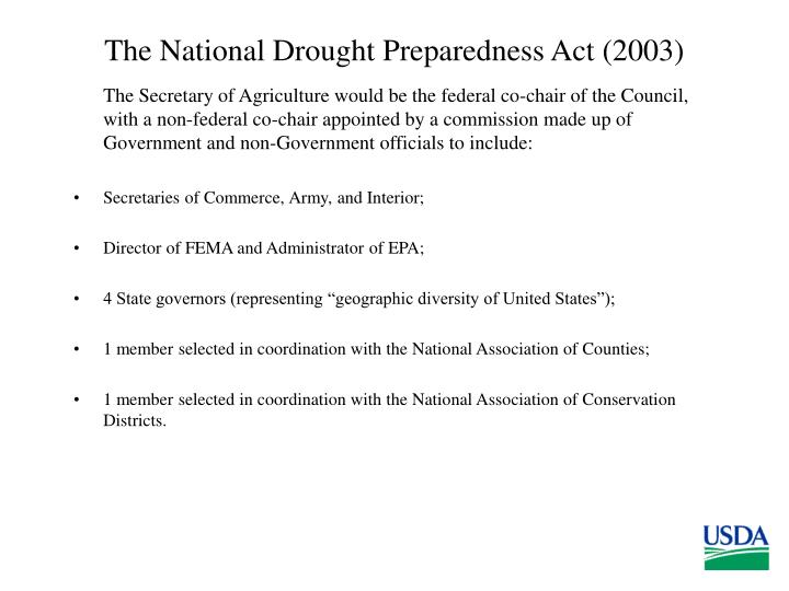 The National Drought Preparedness Act (2003)