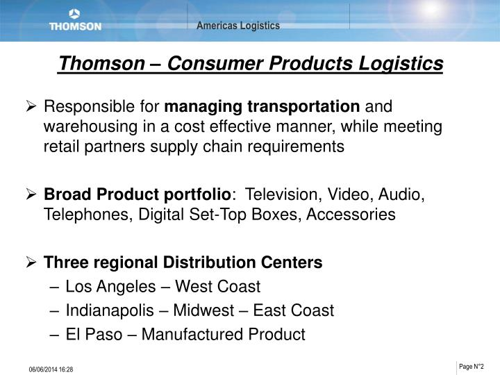 Thomson consumer products logistics