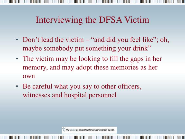 Interviewing the DFSA Victim