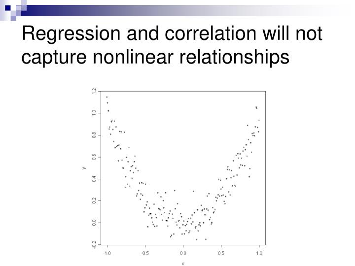 Regression and correlation will not capture nonlinear relationships