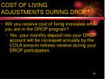 cost of living adjustments during drop