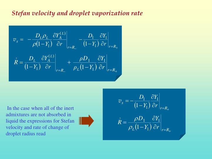 In the case when all of the inert admixtures are not absorbed in liquid the expressions for Stefan velocity and rate of change of droplet radius read