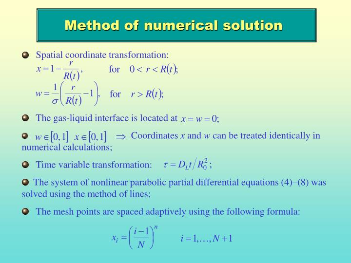 Method of numerical solution
