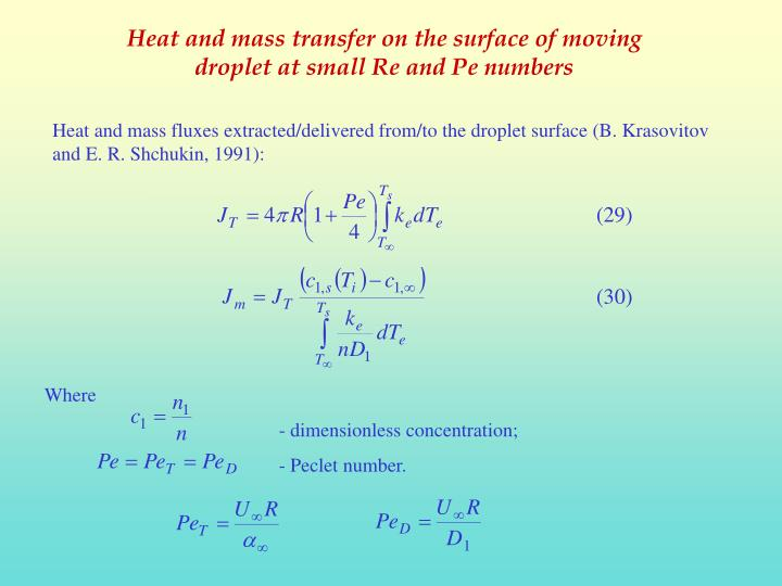 Heat and mass transfer on the surface of moving droplet at small Re and Pe numbers