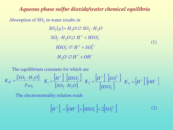 Aqueous phase sulfur dioxide/water chemical equilibria