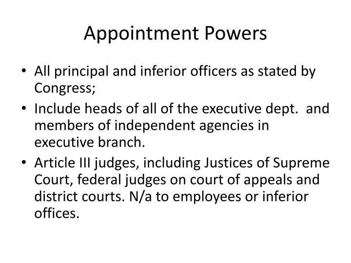 Appointment Powers