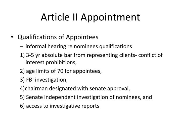 Article II Appointment