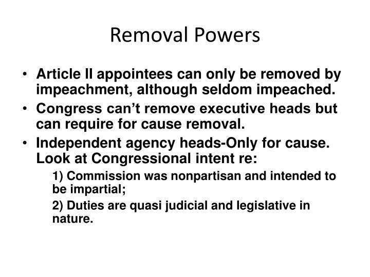 Removal Powers