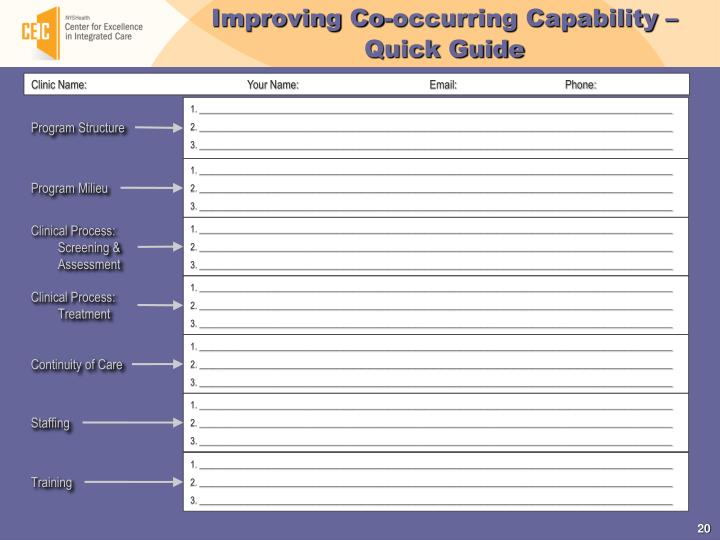 Improving Co-occurring Capability – Quick Guide