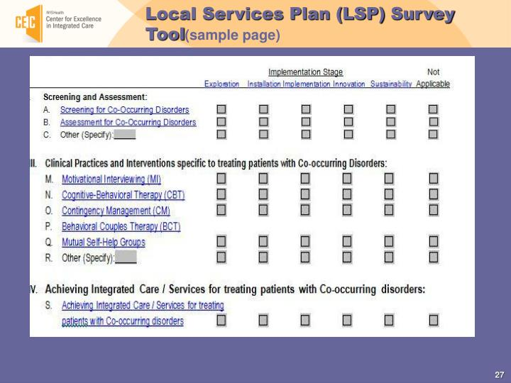 Local Services Plan (LSP)