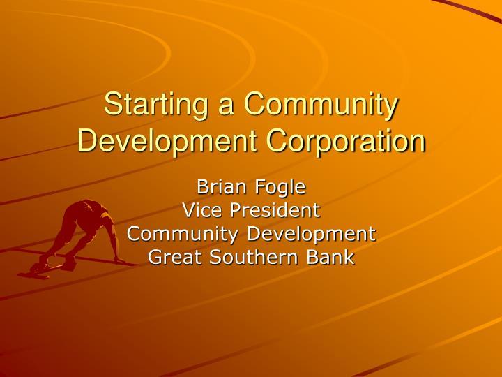 starting a community development corporation n.