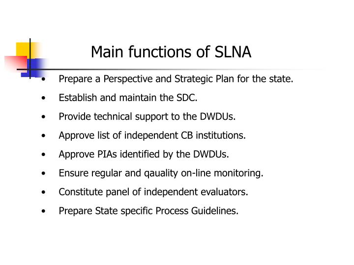 Main functions of SLNA