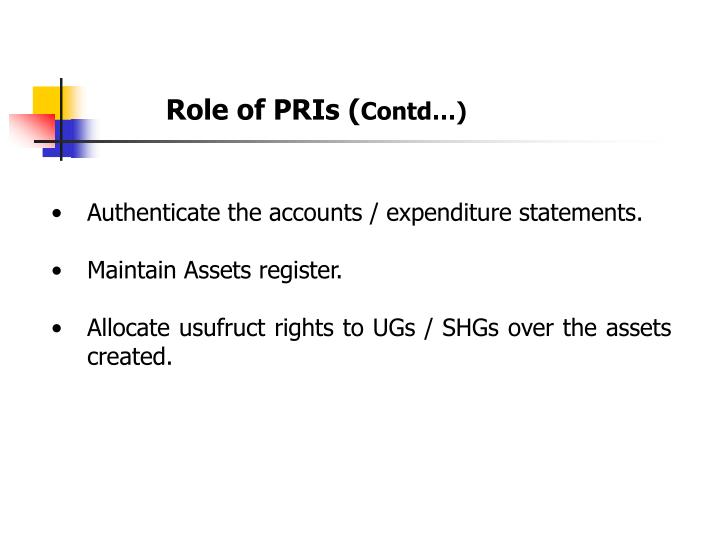 Role of PRIs (