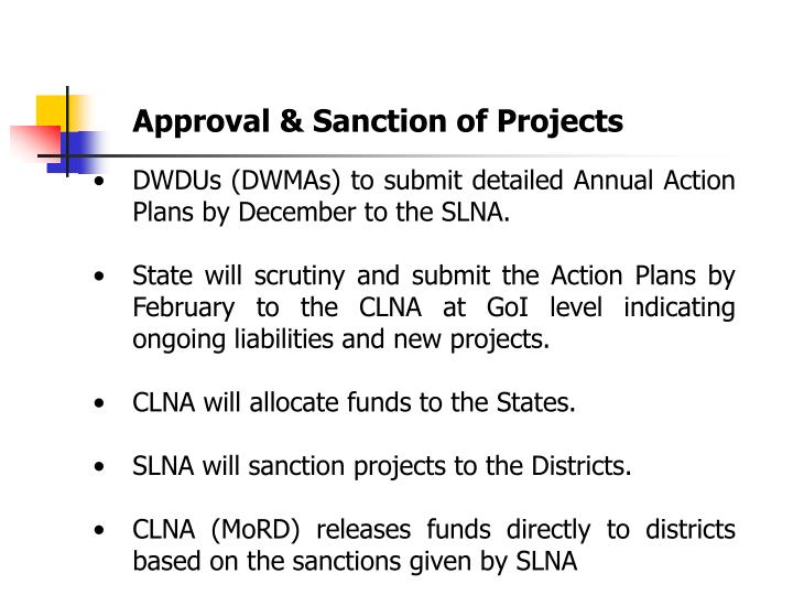 Approval & Sanction of Projects