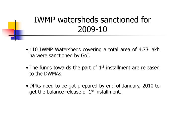 IWMP watersheds sanctioned for 2009-10