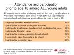 attendance and participation prior to age 18 among all young adults